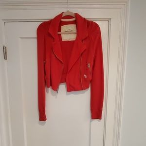 Abercrombie and Fitch red sweater moto jacket